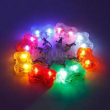 Mascota Perro Collar Colgante Clip Etiqueta LED Noche Lámpara Luz Parpadeante de Seguridad Forma De Hueso