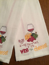 2 EMBROIDERED WHITE & RED STRIPE FLOUR SACK DISH TOWELS W/  WINE & CHEESE DESIGN