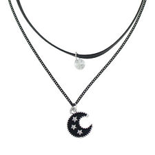 MOON PENDANT BLACK CHAIN CHOKER NECKLACE / Jewellery Gift Idea Hippie Boho 90s