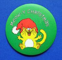 Hallmark BUTTON PIN Christmas Vintage CAT MEOW-Y Santa Hat Holiday Pinback