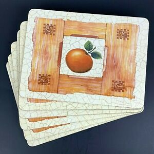 Orange Tropical Acrylic Cork Backed Placemats Set of 6 Beige 12x9 Unbranded