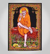 Hindu Islam Saint Satguru Shirdi Sai Baba Sequin Wall Hanging Print Tapestry Art