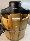 Sunbeam Electric Ice Cream Freezer Maker 4 Quart Solid Wooden Bucket FRSBWDBK