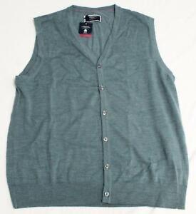 Charles Tyrwhitt Mens Pure Merino Wool Button Waistcoat Vest FR7 Azure Large NWT
