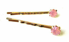 2 x Pink Gold Faux Opal Gold Hair Grips Clips Bobby Pins Bridal Bridesmaid 1698