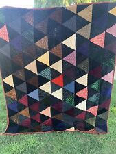 Antique Victorian Era Hand Quilted Triangles Quilt Made From Velvet Fabrics
