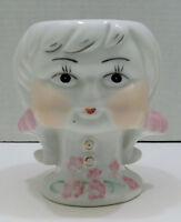 "Vintage Pollyanna Old Fashioned Girl Head Vase Braids White Pink Gold 5"" Tall"