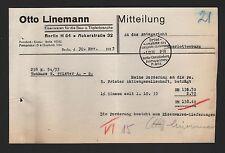 BERLIN, Brief 1933, Otto Linemann Eisenwaren Bau-Töpferbranche