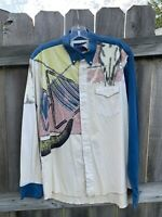 Vintage Wrangler Western 2XL Large Longhorn Steer Pearl Snap Long Sleeve Shirt