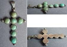 Pendentif croix en argent massif + turquoises Bijou ancien silver cross