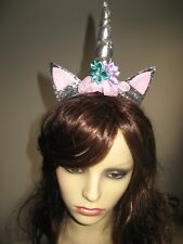 Party/Fancy dress silver Unicorn style headband/hairband (fits age 3 - adult)