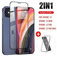 CLEAR Case For iPhone 12,12 Pro Max Full Cover TEMPERED GLASS SCREEN PROTECTOR ❧