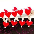 20 Pcs Wooden Red Heart Mini Clip Wood Pegs Kid Craft Party Favor Supply GS