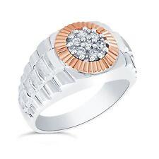 argento sterling / 14 carati oro rosa 1/4 CTW diamante Uomo Anello di design