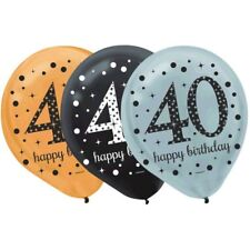 """40's 12"""" Latex [15ct] Balloon Birthday Decorations Party Supplies 40th Balloons"""