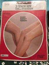 Vintage Stockings Color Suntan Size 9-10 Seamless Sheer 2 Pair W
