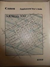 Instructions machines à écrire Canon Starwriter 500 utilisateurs supplémentaires guide CD / email