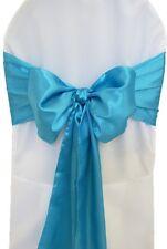 "300 Blue Turquoise Satin Chair Cover Sash Bows 6""x108"" Banquet Wedding Made USA"