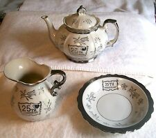 25TH ANNIVERSARY FOUR PIECE STERLING TRIMMED PORCELAIN TEA SET MADE IN JAPAN