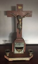 More details for antique wood brass religious jesus on cross crucifix candle holder sconce font.