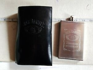 Jack Daniels Leather Wallet and 3oz Hip Flask Gift Set - Embossed - Old No. 7