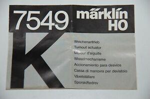 Märklin H0 Original Beschreibung für Weichenantriebe k 7549 TOP Zustand
