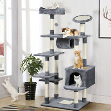 62'' Large Cat Tree Tower Condo Furniture Scratch Post Kitty Pet House Play Gray