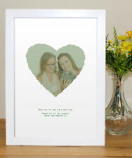 Mothers Day Photo Gift personalised vintage heart - in A4 A3 A5 framed finish