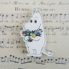 CuTe qUiRkY VINTAGE MOOMIN FLOWERS CARTOON PRINTED ACRYLIC BROOCH BADGE PIN 40mm