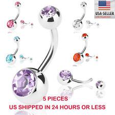 Belly Button Ring 5 PCS Crystal Rhinestone Ball Navel Dangle Bar Body Piercing