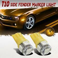 2 Pcs T10 Amber 194 168 Front Side Marker LED Lights Fender Marker Turn Signal