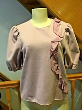 $325 PROSE & POETRY  VERY STRETCH ROSE LOLA ASYMMETRICAL RUFFLE TOP SIZE S-M-L