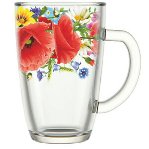 10 fl oz Tall Clear Glass Mug Tea Coffee Cup Teacup with Poppy Floral Pattern