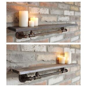 Industrial Style Metal and Wood Pipe Shelf Rusty Distressed Finish in 2 sizes