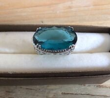 Unusual Statement Large Oval Crystal Open work Sterling Silver Ring Size Q