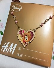 Genuine Disney Bambi Love Heart Pendant Necklace Deer Crystal Bead BNWT H&M Cute