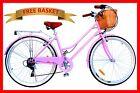 BRAND NEW VINTAGE RETRO LADIES BEACH CRUISER BICYCLE / BIKE BASKET 6 SPEED PINK