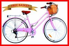 BRAND NEW VINTAGE RETRO LADIES BEACH CRUISER BICYCLE / BIKE BASKET 6 SPEED PINK