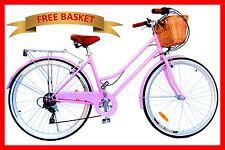 Vintage Retro Ladies Beach Cruiser Bicycle / Bike Basket 6 Speed Pink