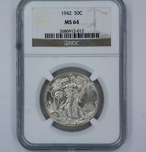 1942 USA 50C HALF DOLLAR COIN - MS64 -NGC