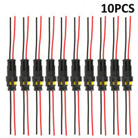 10 Kit 2 Pin Way Waterproof Electrical Wire Connector Plug Car Auto Motorcycle w