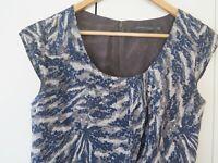 SPORTSCRAFT Sz 10 Blue, Grey & Ivory 100% Silk Patterned Dress - ripped lining