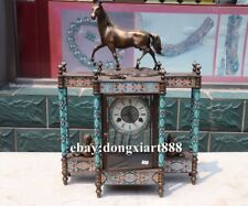 European Retro Bronze cloisonne Angel Horse Mechanical clockwork Clock Timepiece