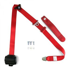 3 Point Retractable Seat Belt With Push Button w/ Contoured Sleeve-Red
