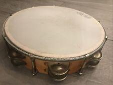 Vintage 10� Wood Ludwig Weathermaster Tambourine 36 Jingles Two Rows