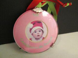 "Christmas ""Grandma's Little Present"" Ornament Photo Frame by Mud Pie, New"