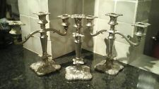 Old Antique Regency Style Silver Plate Candlestick &  Candelabra English C1965