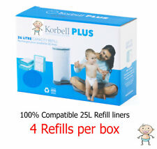 Korbell PLUS Nappy Disposal 4 or 8 REFILLS for 25L Bin - 100% Compatible Kit