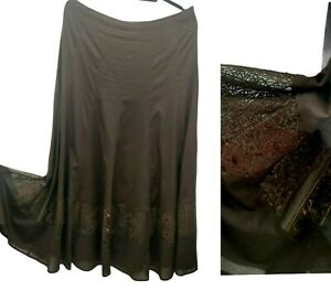 Planet Brown Skirt Women UK 12 Autumn Lace Panel Lined Cotton Gypsy Midi Flare