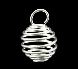 ❤ BRIGHT Silver Plated Spiral BEAD CAGE CHARMS Lantern Choose Jewellery Making ❤